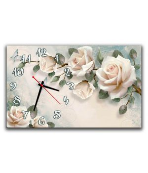 Годинник настінний для спальні Білі троянди 3Д, чуттєвість 30х50 см