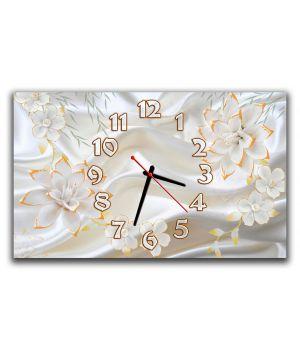 Настенные часы для спальни Белые цветы, чувственность 30х50 см
