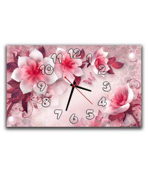 Настенные часы для спальни Нежные розовые цветы 3Д, 30х50 см