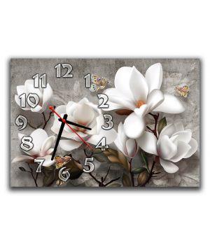 Годинник настінний для спальні Білі квіти, ніжність, 30х45 см