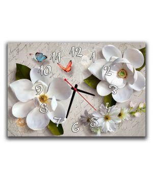 Настенные часы для спальни Белые цветы 3Д, 30х45 см
