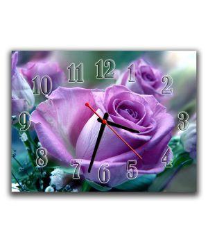 Настінний годинник Фіолетова троянда, 30х40 см