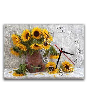 Настенные часы Подсолнухи, композиция, 30х45 см