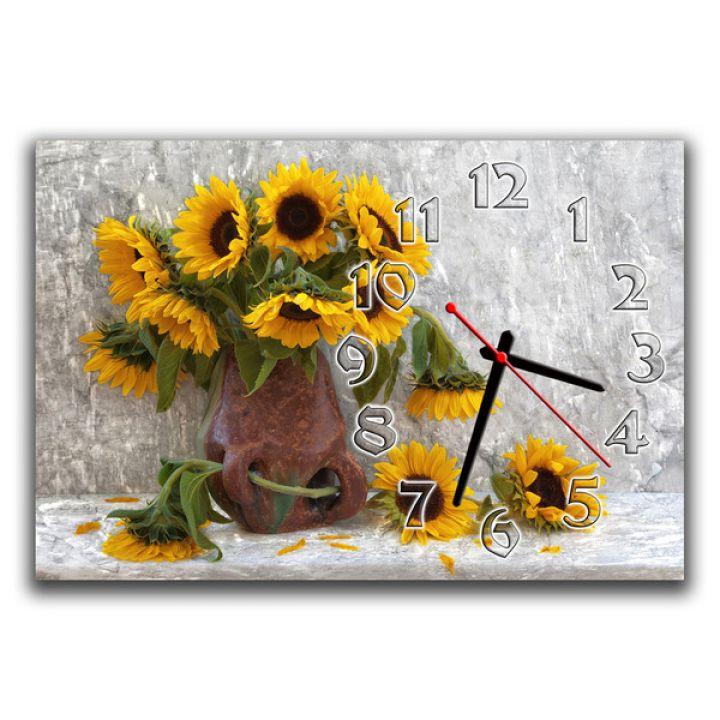 Настінний годинник Соняшники, композиція, 30х45 см