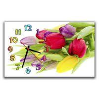Настенные часы Разноцветные тюльпаны, 30х50 см