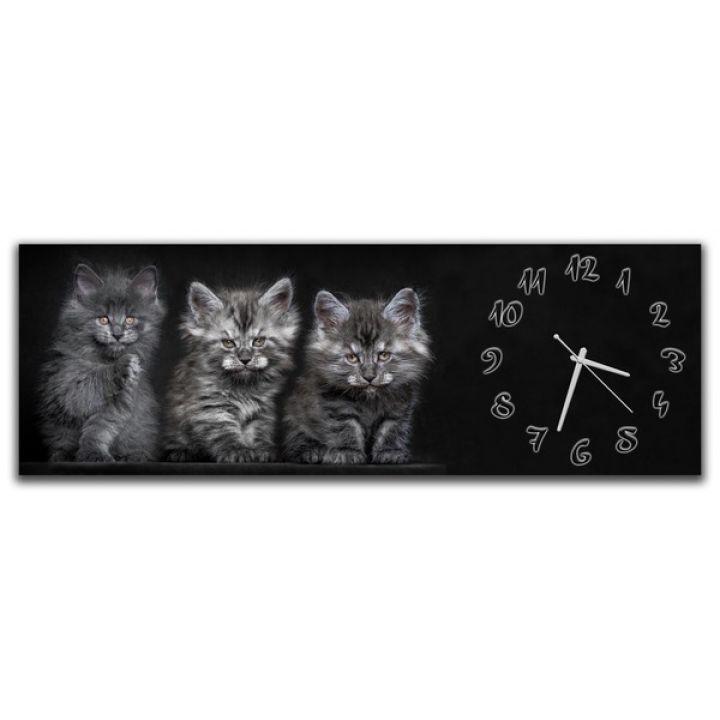 Настенные часы Серые котики, 30х90 см