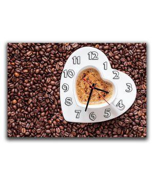Настенные часы Сердце кофе, 30х45 см