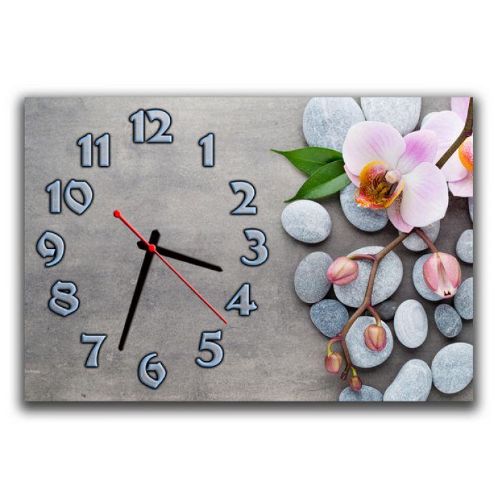 Настенные часы Фаленопсис на камне, 30х45 см