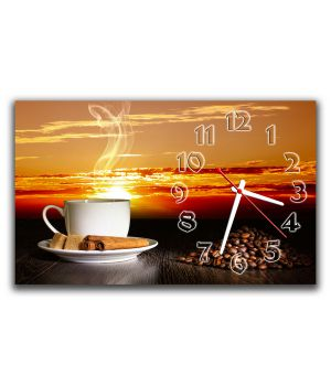 Настенные часы Кофе и закат, 30х50 см