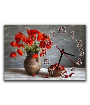Настенные часы Маки в вазе, 30х45 см