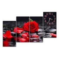 Модульний годинник настінний Троянда на чорному, 120х80 см