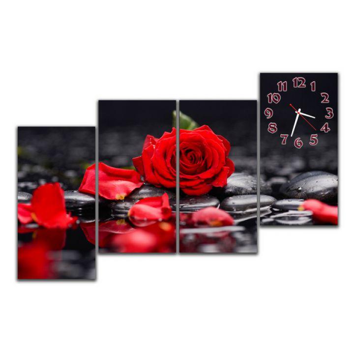 Модульные настенные часы Роза на черном, 120х80 см