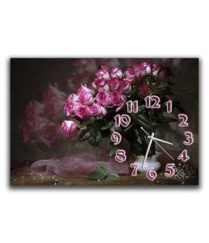 Настінний годинник Ефектний букет троянд, 30х45 см