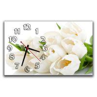 Настінний годинник Білі тюльпани, 30х50 см