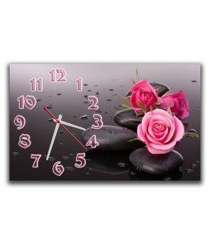Настенные часы Розы на камне, 30х50 см