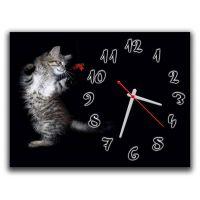 Настенные часы Кот и бабочка, 30х40 см