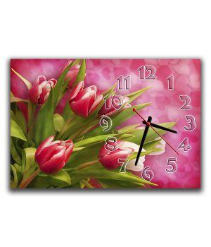Настенные часы Тюльпаны на розовом, 30х45 см