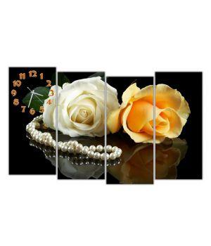 Модульные часы Розы и бусы, 120х80 см