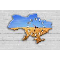 Фигурные настенные часы в гостиную с 3D эффектом IdeaX Карта Украины F57, 30х45 см