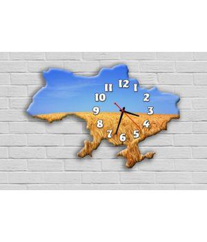 Фігурний настінний годинник з 3D ефектом IdeaX Карта України F57, 30х45 см
