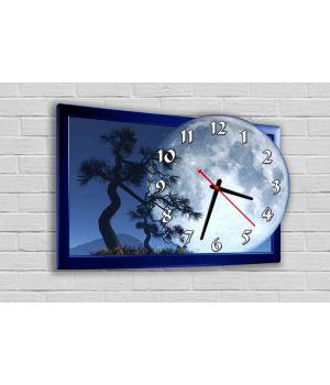 Фигурные настенные часы в детскую с 3D эффектом IdeaX Полнолуние F67, 30х42 см