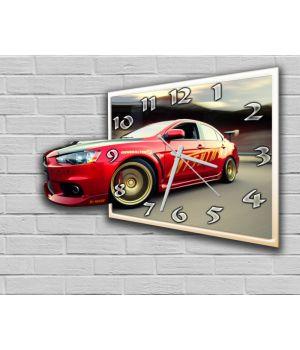 Фігурний настінний годинник з 3D ефектом Авто F7, 30х40 см