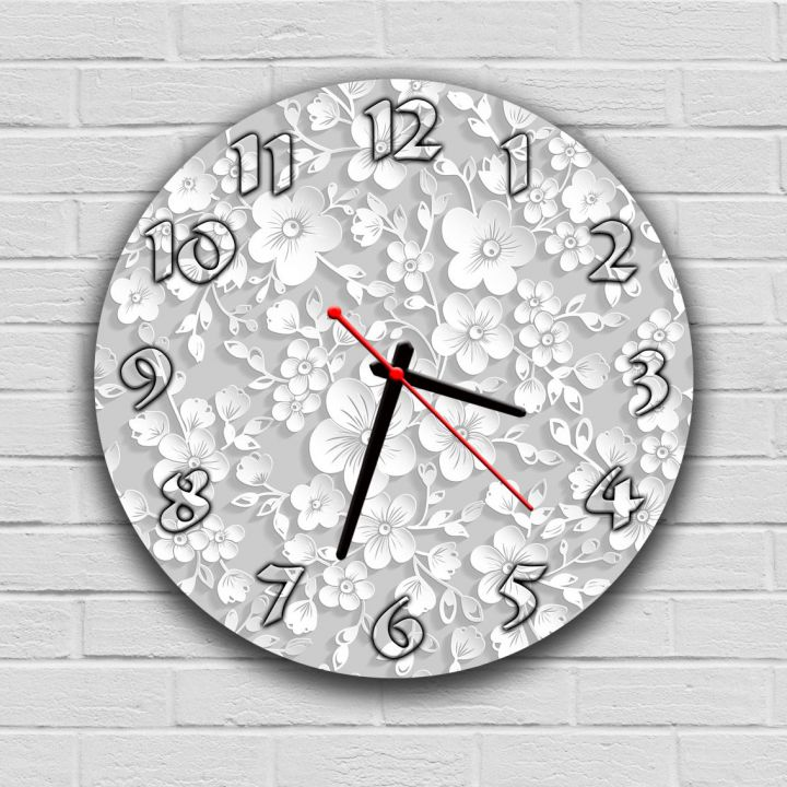 Кухонний настінний годинник 74020, 30х30 см, Білі квіти