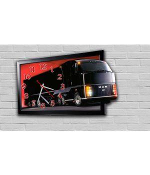 Фігурний настінний годинник в дитячу з 3D ефектом IdeaX Автобус F16, 30х47 см