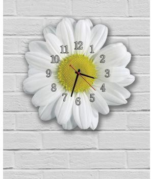 Фигурные настенные часы в детскую с 3D эффектом IdeaX Ромашка F55, 30х30 см
