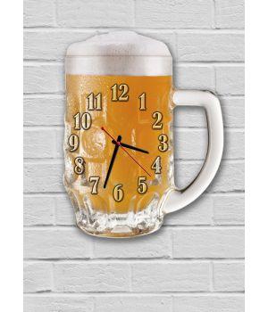 Фигурные настенные часы в кухню с 3D эффектом IdeaX Пиво F45, 30х38 см