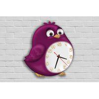 Фигурные настенные часы в детскую с 3D эффектом IdeaX Птица F74, 30х34 см