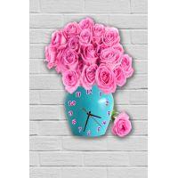 Фигурные настенные часы в гостиную с 3D эффектом IdeaX Розы F54, 30х40 см