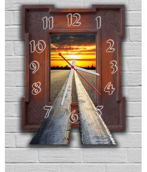 Фігурний настінний годинник з 3D ефектом Пейзаж F4, 30х40 см