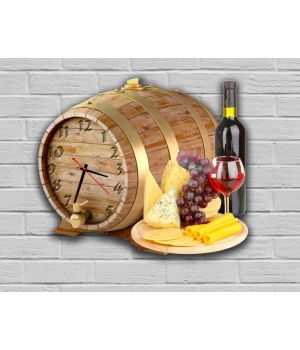 Фигурные настенные часы в кухню с 3D эффектом IdeaX Вино и сыр F23, 30х35 см