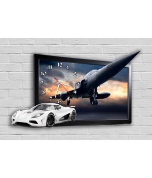 Фігурний настінний годинник в дитячу з 3D ефектом Автомобіль і літак F63, 30х51 см