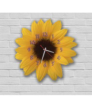 Фигурные настенные часы в кухню с 3D эффектом IdeaX Подсолнух F53, 30х30 см
