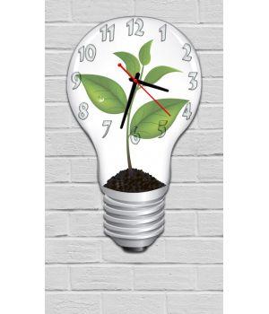 Фігурний настінний годинник з 3D ефектом IdeaX Лампочка F43, 30х52 см