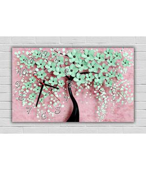 30х50 см, Бирюзовое цветочное дерево