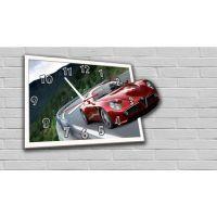 Фігурний настінний годинник в дитячу з 3D ефектом Авто F12, 30х44 см