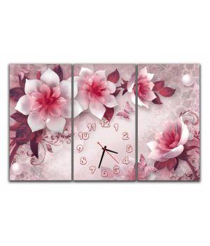 Модульные настенные часы Цветы, 90х57 см