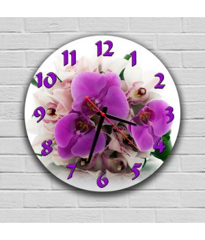 Круглий настінний годинник Орхідеї 69075, 30х30 см