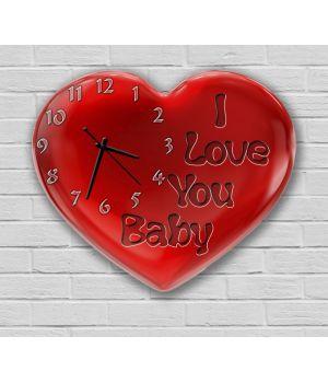 Фігурний настінний годинник з 3D ефектом Серце F51, 30х36 см
