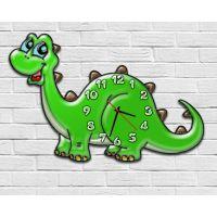 Фигурные настенные часы в детскую с 3D эффектом IdeaX Динозаврик F40, 30х45 см