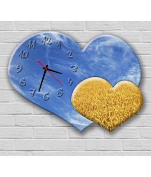 Фігурний настінний годинник з 3D ефектом Серце, Україна F50, 30х40 см