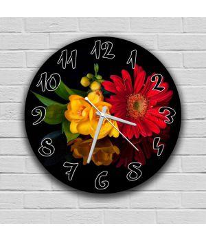 Круглий настінний годинник Квіти 69077, 30х30 см