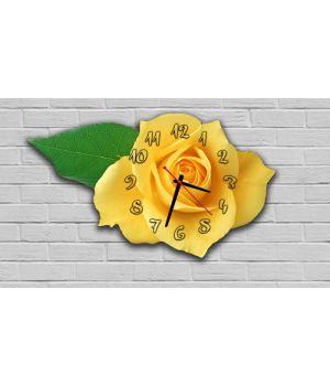 Фигурные настенные часы в детскую с 3D эффектом IdeaX Роза F19, 30х52 см