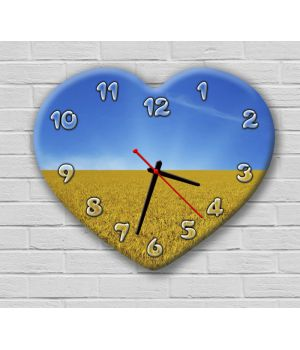 Фігурний настінний годинник з 3D ефектом IdeaX Серце, Україна F49, 30х36 см