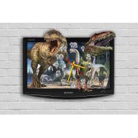 Фигурные настенные часы в детскую с 3D эффектом IdeaX Динозавры F59, 30х40 см