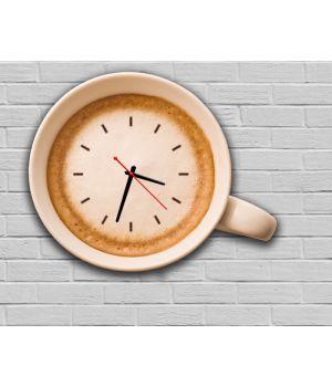 Фігурний настінний годинник з 3D ефектом Кружка кави F9, 30х37 см