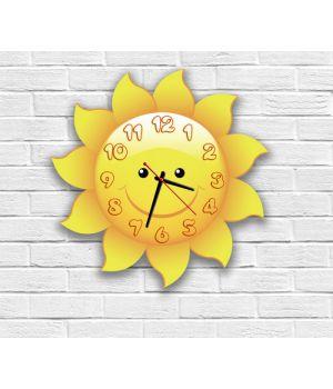 Фигурные настенные часы в детскую с 3d эффектом ideax солнышко f79, 30х30 см